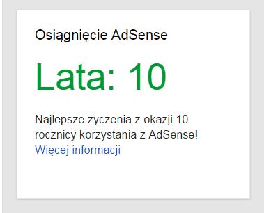 10 lat AdSense